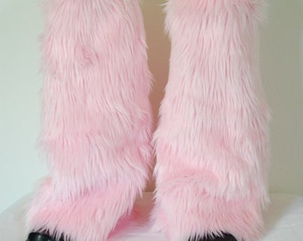 Baby Pink Monster Leg Warmers / Fluffies / Boot Covers - Cosplay / Furry / Animal / Rave