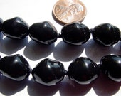 Vintage Japanese - Black Satin Small Baroque Glass Pearls - GP09