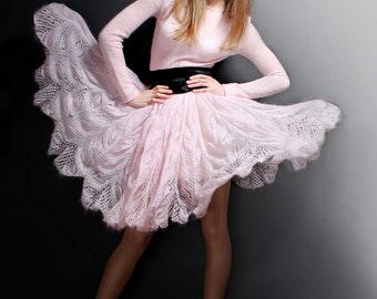 Knitted dress, pink color, very romantic and light ( free shipping)