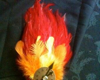 Steampunk Feather Clock Face Hair Fascinator Clip Barrette - Phoenix Flame Feather Hackle Pad for Burlesque, Costume, Faire