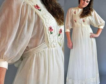 vintage 70s dress / Bohemian Maxi Dress / Sheer Romantic Ruffle Festival dress / 1970s Long Maxi Dress Angel Wing Sleeve Hippie Dress M / L