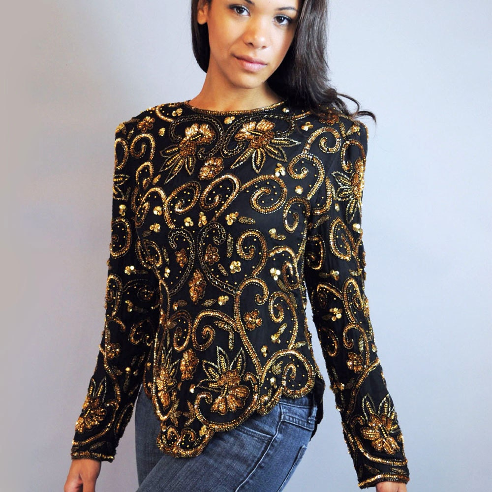 80s vintage BEADED BLOUSE / Sheer Black Silk & Sequin glam top