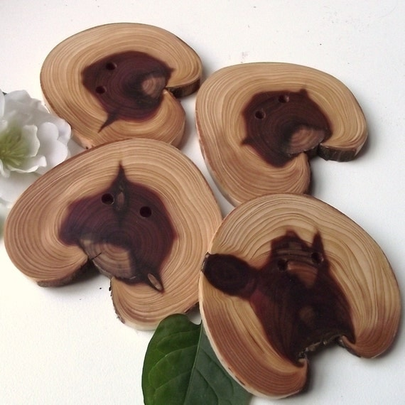 Cedar Wood Buttons - 4 Wooden Tree Branch Buttons - 2 5/8 x 2 3/8 inches, 2 Holes, For Knitting, Journals, Pillows, Purses