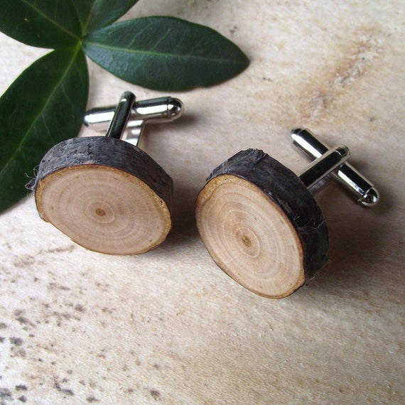 Wood Cuff Links Handmade from a Real Tree Branch - Wooden Cufflinks Eco-friendly for the Groom or Father - 3/4 inch Diameter