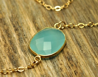 Glowing Aqua Chalcedony Necklace, One of a Kind