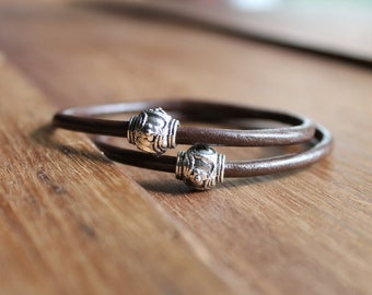 Apia Dark Espresso Brown Leather Bangles with Thai Silver Beads