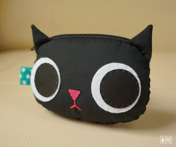 Black kitty coin purse