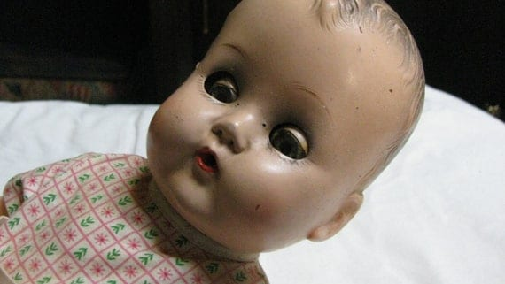 Vintage 1940s Baby Coos Doll by Ideal 14 inch composition