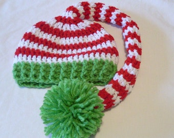 Baby Long Tail Hat, Striped Elf Hat, Newborn Christmas Hat, Toddler Stocking Cap, Red, White, Lime Green