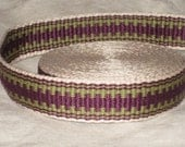 Cream, purple, and sage green hand woven inkle trim (over 14 feet)