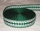 Kelly green and white hand-woven inkle trim (over 14 feet)