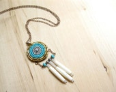 Growth Medallion Necklace - Beaded Carved Bone Turquoise Pendant