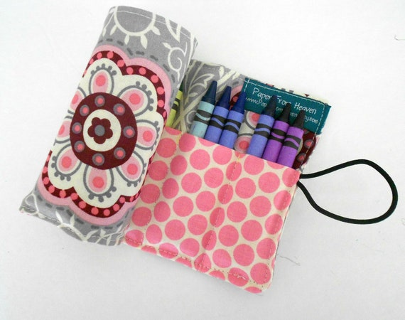 Childrens Crayon Roll - Retro Medallion - holds 24 crayons
