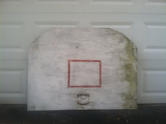 Vintage Homemade Wooden Basketball Backboard.