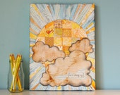 Patchwork Sunshine Art. Summer Yellow. Watercolor Mixed Media Collage Print. German Text, Coffee-stained Clouds and Vintage Notebook Paper.