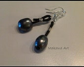 Pearl and Leather Earrings - Peach, White, Chocolate, Silver or Peacock Blue Pearls - Your Choice