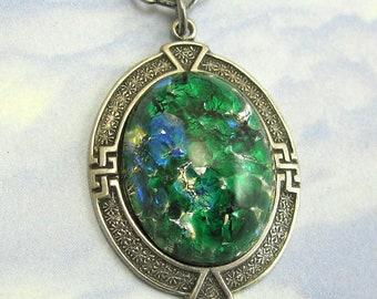 Opal Art Deco Necklace Vintage Glass Pendant on Antique Silver Chain