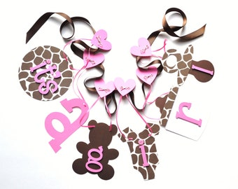 Giraffe Baby shower decorations it's a girl banner pink and brown by ParkersPrints on Etsy
