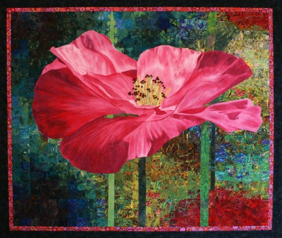 SPECIAL PRICE!!!   Grand Poppy Original Art Quilt by Lenore Crawford