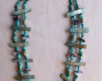 Wampum necklace with turquoise Navajo motif