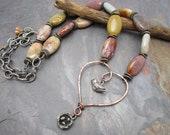 Sentimental Journey Heart and Bird Necklace with Ocean Jasper