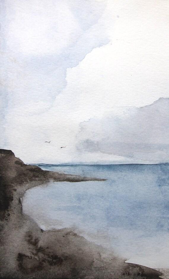 Sea Ocean Landscape Painting Original 5x7 Watercolor