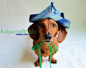 Peter Pan Birthday Party Hat for Dachshunds -  Retro 70s Striped  Navy Blue  Green Yellow