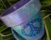 Painted Flower Pot - Peace Sign - Medium Sized - Blue and Purple
