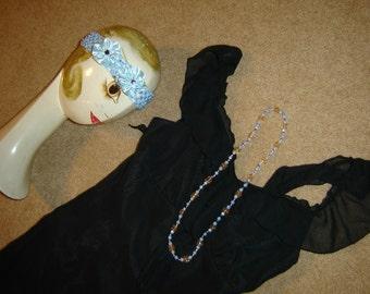 Roaring 20s Flapper dress black chiffon ruffles  Halloween COSTUME womens sz S