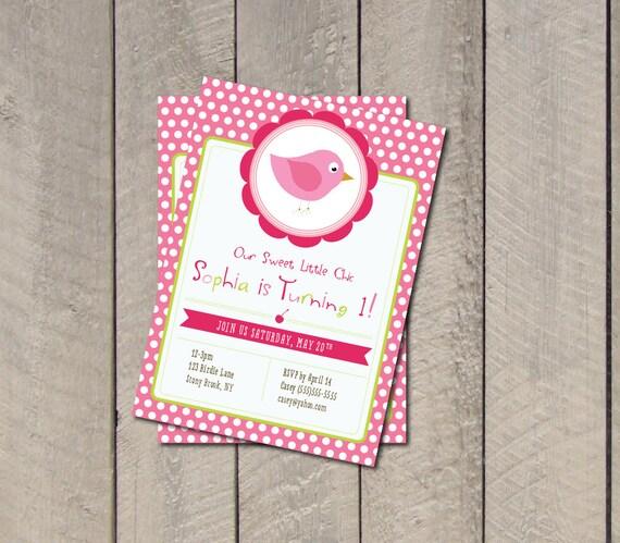 Birdie Birthday Party Invitation - Hot Pink & Green Bird Invite - Digital Printable Invite