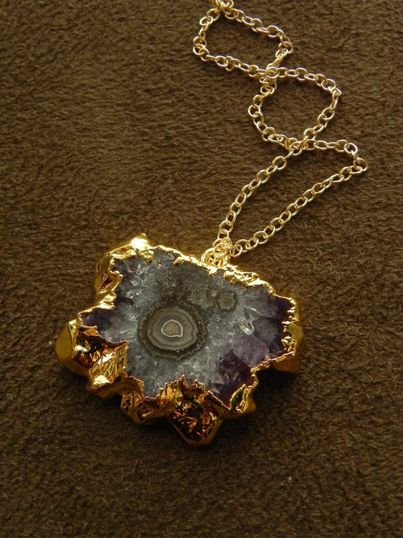 Small Purple Amethyst Slice and 14kt Gold Fill Pendant Necklace