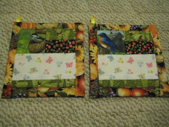 Birds Butterflies and Berries Kitchen Potholders