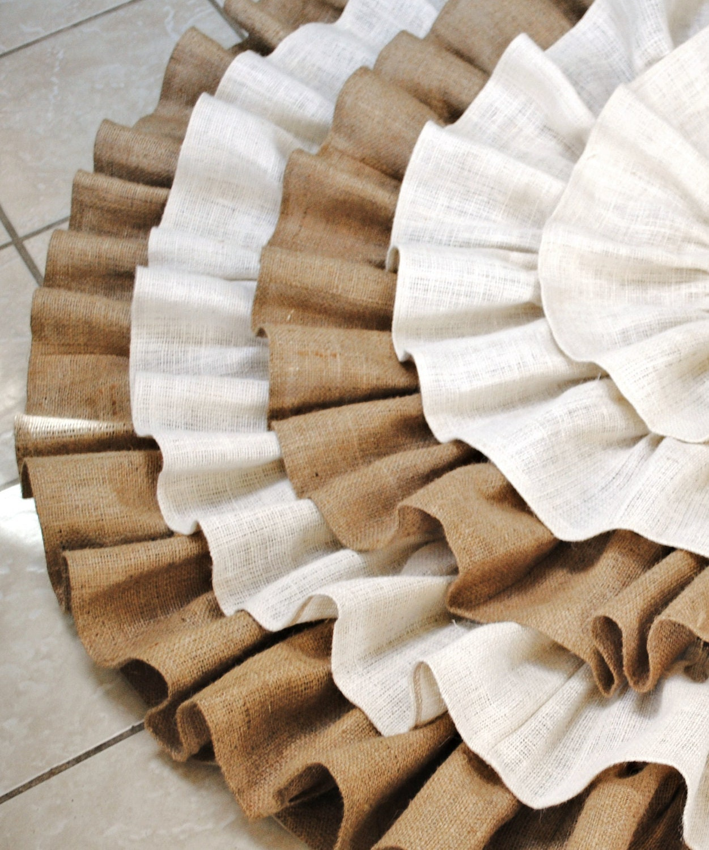 Ivory and natural ruffled burlap tree skirt