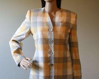 1970s vintage tailored yellow plaid jacket