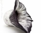 Black white nature inspired felted home decor for vase -felt vase sculpture for flowers
