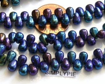 Iris Blue Teardrop Czech Glass Beads 4x6mm 50