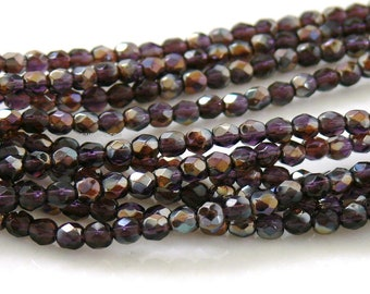 Tanzanite Celsian, Czech Beads Fire Polished 4mm 50 Faceted Round GLass
