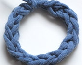 Chambray Denim Blue Recycled Jersey Knit Cotton Chunky Braid Nautical Stacking Bracelet Bangle