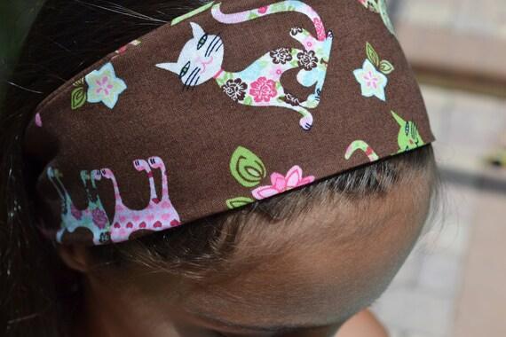 Reversible headband - Cute Cats -  Children