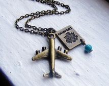 Airplane Passport Necklace. Airplane Necklace. Turquoise. Pilot. Jetsetter. Air Force. World Traveler.