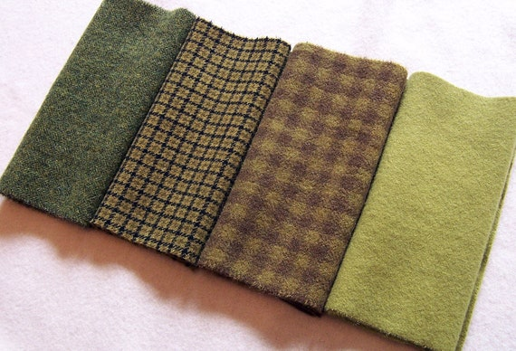 Hand Dyed Felted Wool Fabric  - Green solids / textures - for Rug Hooking, Applique, Penny Rugs and Sewing Projects/ H183