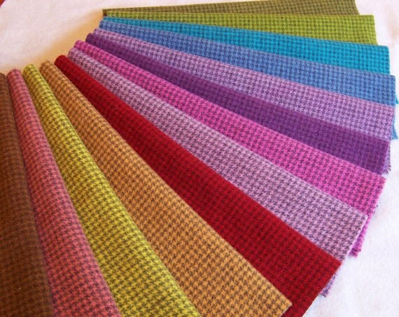 Houndstooth Hand Dyed Felted Wool Fabric - Colorful - for Rug Hooking, Applique, Penny Rugs and Sewing Projects/ H184 - Three Sheep Studio
