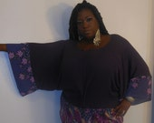 Ricci - Posh N Petals Deep Plum Ribbed Knit Kimono Sleeve Tunic Blouse - 1 X - 2X- 3X -Plus Size