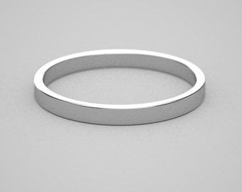 10k white or yellow gold 2x1mm band NEW COLORS