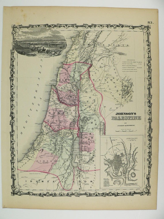 Palestine Map Holy Land Israel Map 1862 Johnson Map, Wedding Gift for Couple, Historical Map Middle East, Antique Art Map Original 1800s Map