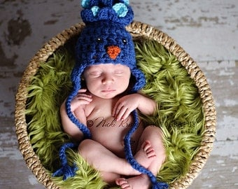 Baby Animal Hat, Newborn Photo prop outfit, Crochet Baby Hat, Hat with Ears, Baby Bird Hat, Baby Costume,