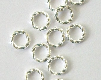 6mm brass Jump Ring findings 100 pieces twisted rings - 16 gauge jumprings -- Available in Silver plated or Gold Plated
