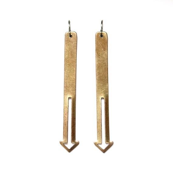 brass downward earrings