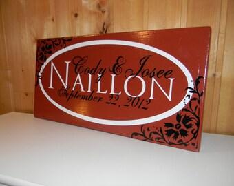"CUSTOM family vinyl sign PERSONALIZED - ""Naillon Sign"""