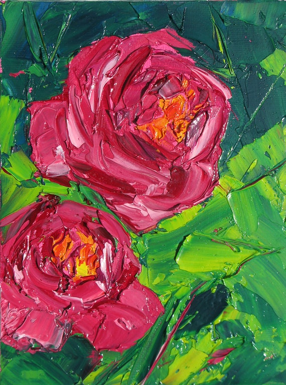 Reserved for Lori   TOGETHER, an original oil 6 x 8 inch painting on canvas board by Yvonne Wagner. Peony. Peonies,  Flower. Pink.
